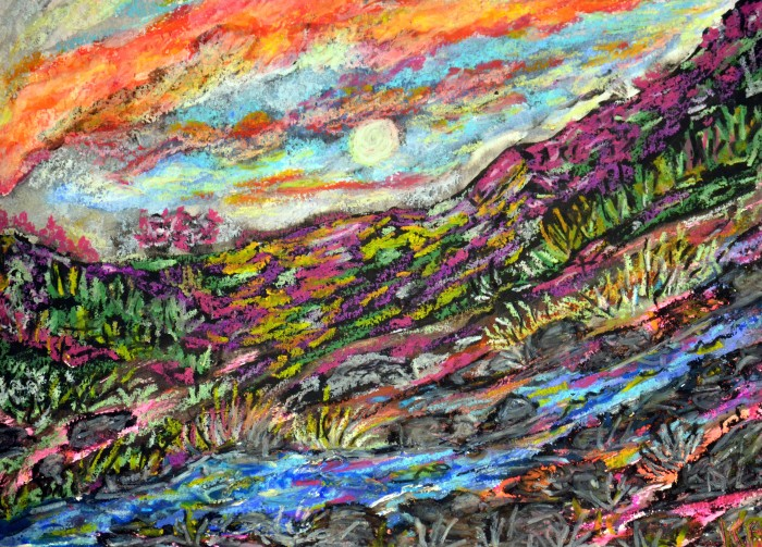 Sunset with Oil Pastels on Paper